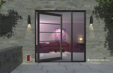 contemporary main entrance door made of horizontally segmented glass panels with square door hardware and sidelight