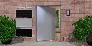 metal contemporary front door made of silver powder coated aluminum metal and round stainless steel door handles