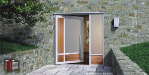 modern single door design made of teak hardwood and frosted glass with custom door handles and sidelight