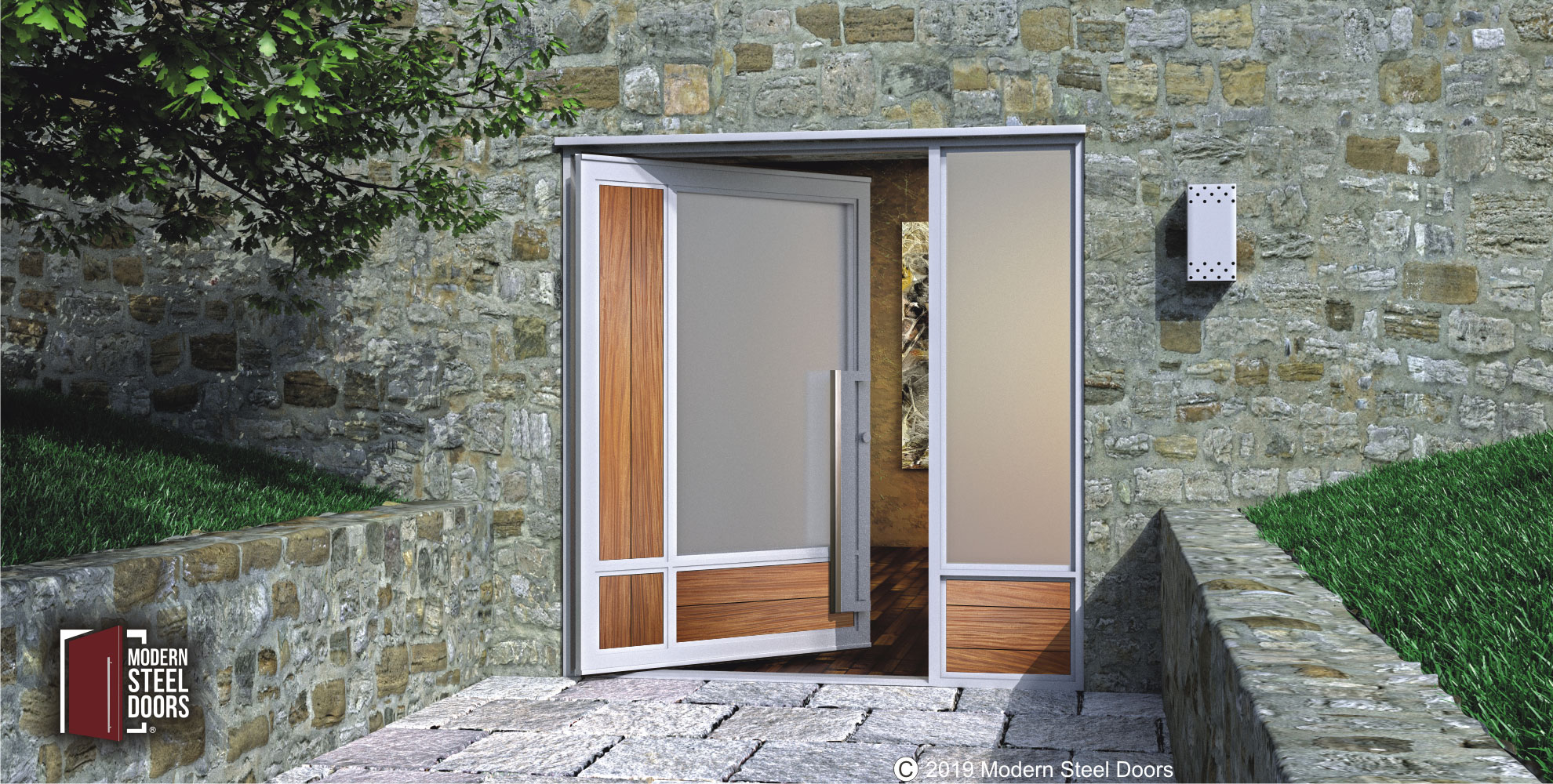 modern single door design made of teak hardwood and frosted glass with custom door handles and sidelight