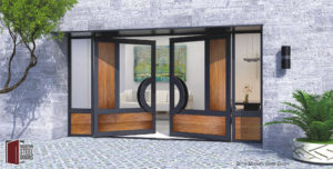 modern double door made of teak hardwood and glass with black custom door hardware and sidelights