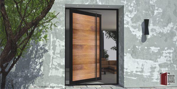modern wooden front door made of genuine teak wood and metal with modern door handles