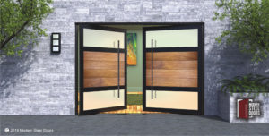contemporary double front doors made of frosted glass and teak wood with handmade custom door pulls
