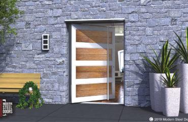 fancy front door made of authentic teak wood and metal with door length round door handles