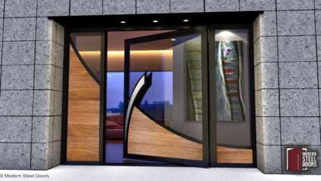 large pivot front door made of real teak wood and glass with modern stainless steel door handles and sidelights
