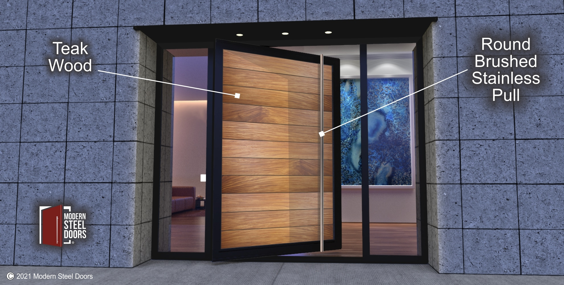 TEAK WOOD ENTRY DOOR WITH CLEAR LOW E GLASS SIDELIGHTS