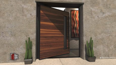 metal framed wood door and door lite