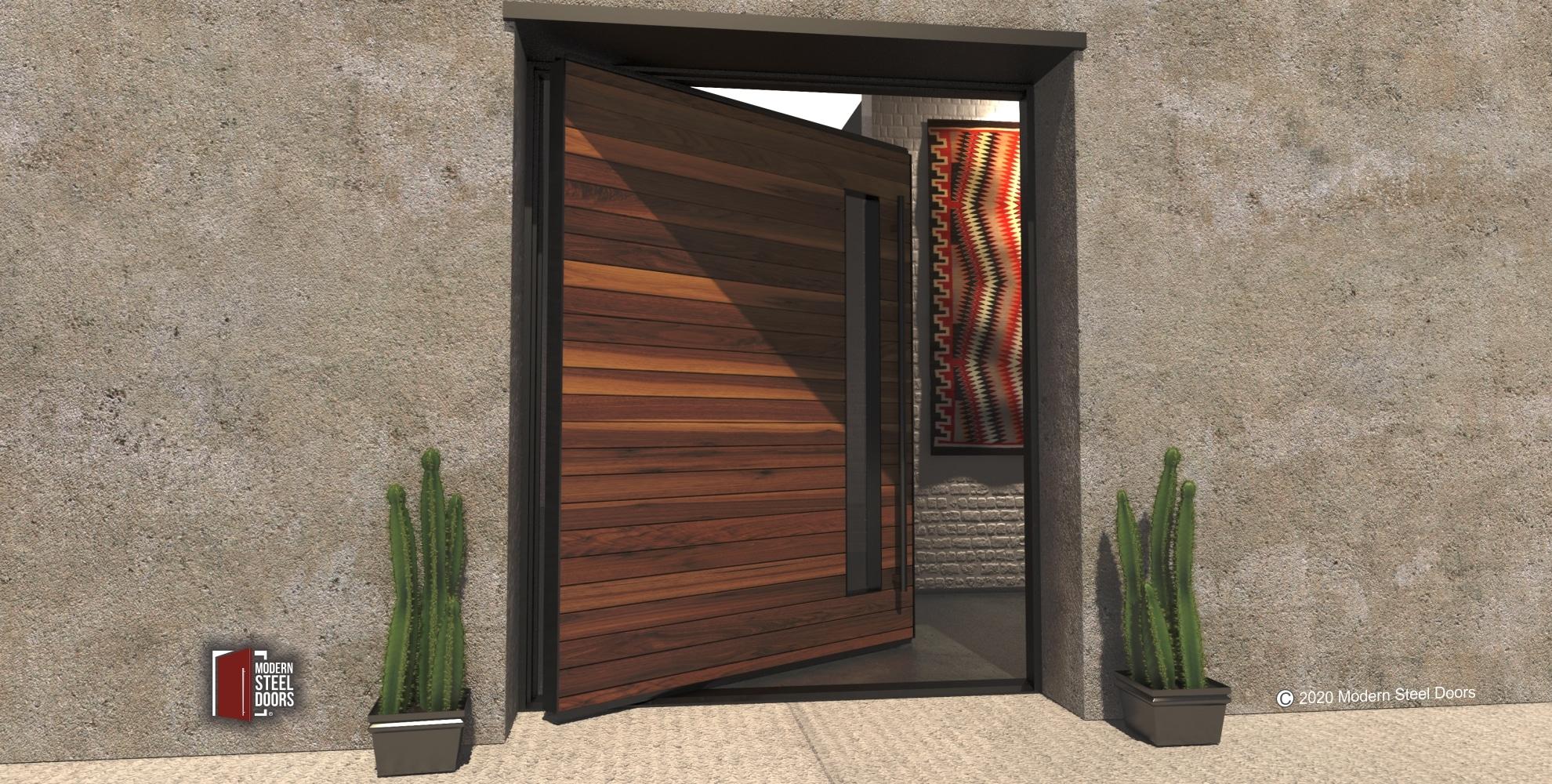 metal framed wood door and door lite