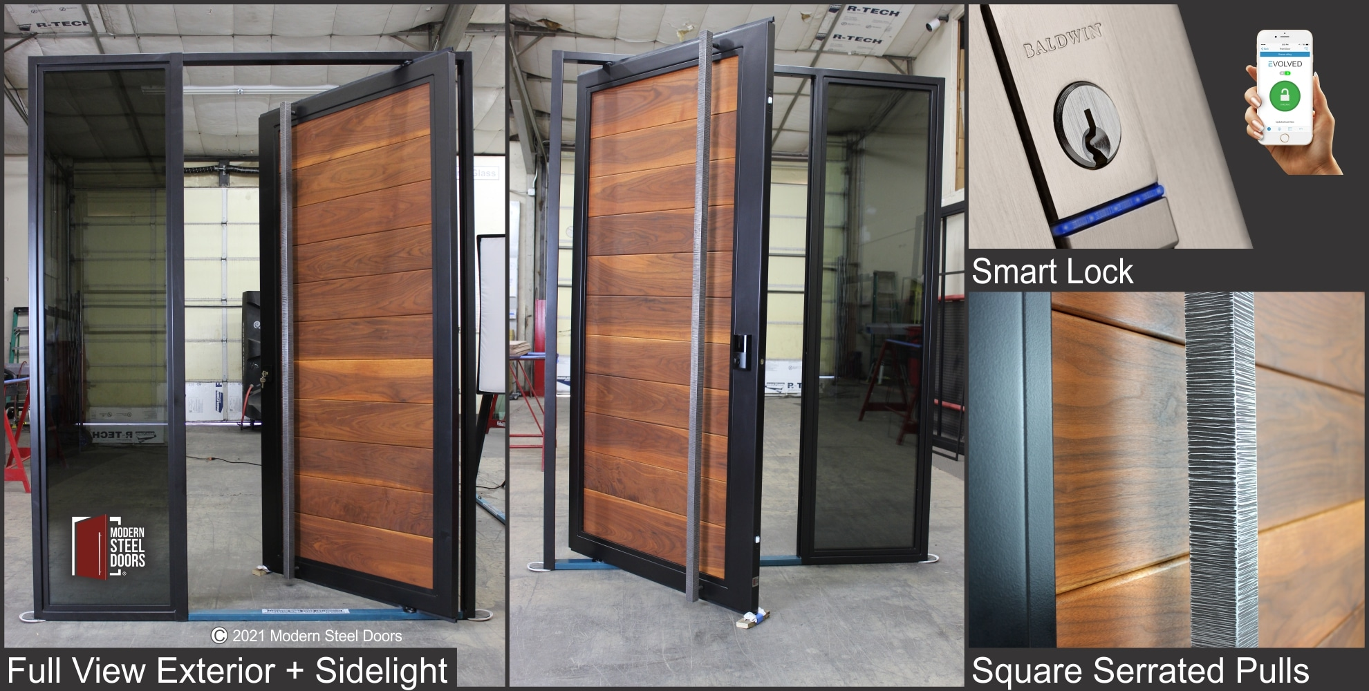 WALNUT FULL VIEW PIVOT DOOR WITH ONE SIDELIGHT