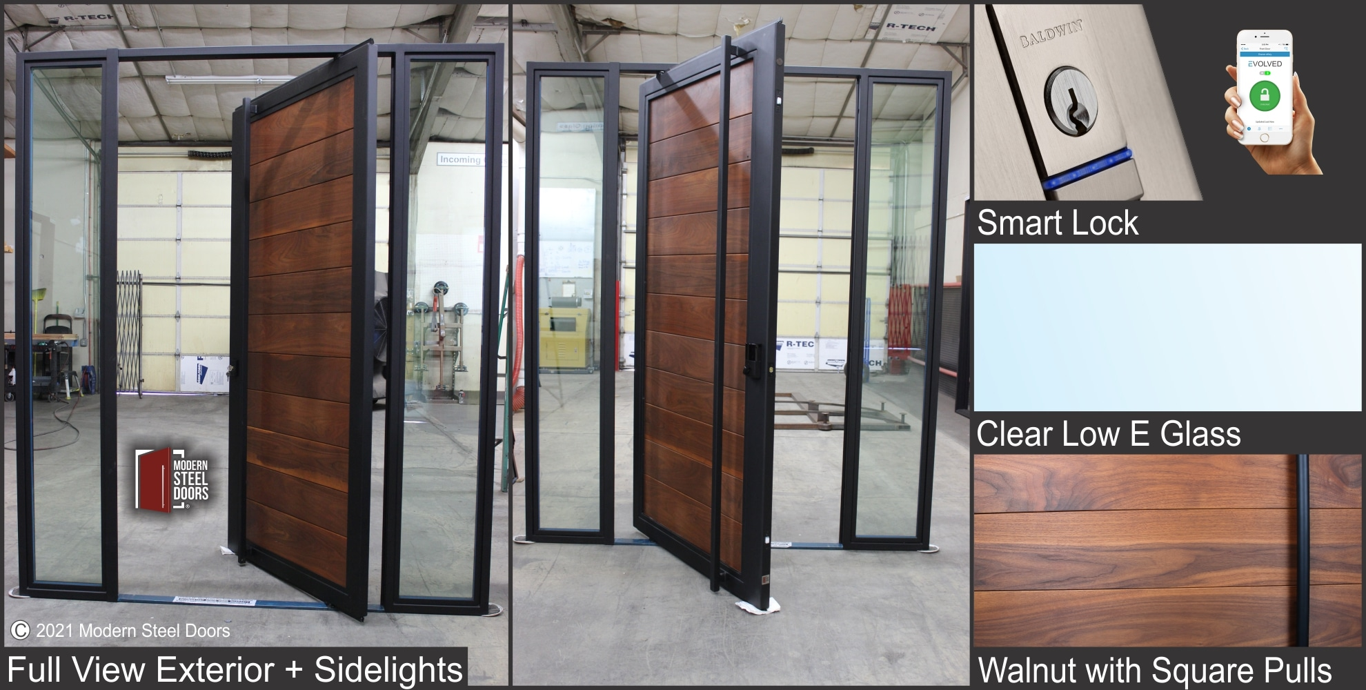 WALNUT FULL VIEW PIVOT DOOR WITH TWO SIDELIGHTS