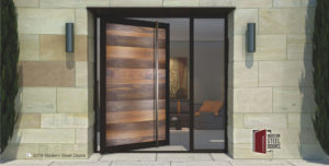 modern front door made of genuine walnut hardwood and steel with custom square door handles and sidelight