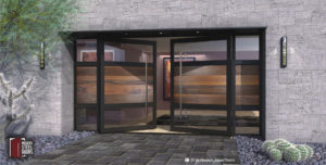 large modern double doors made of genuine walnut wood and glass with stainless steel door handles and sidelights