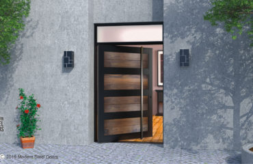 modern front door design made of real walnut wood and steel with long square door handles and transom