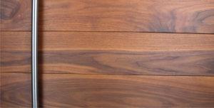 walnut genuine wood with round stainless steel door pulls