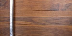 dark wood door made of walnut wood and unique square door handles
