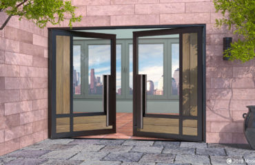modern front double doors made of washed teak wood and glass with matching custom door hardware