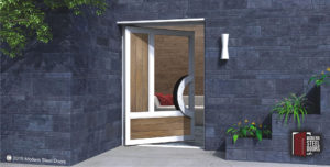 luxury exterior door made of washed teak wood and glass with curved modern door handles
