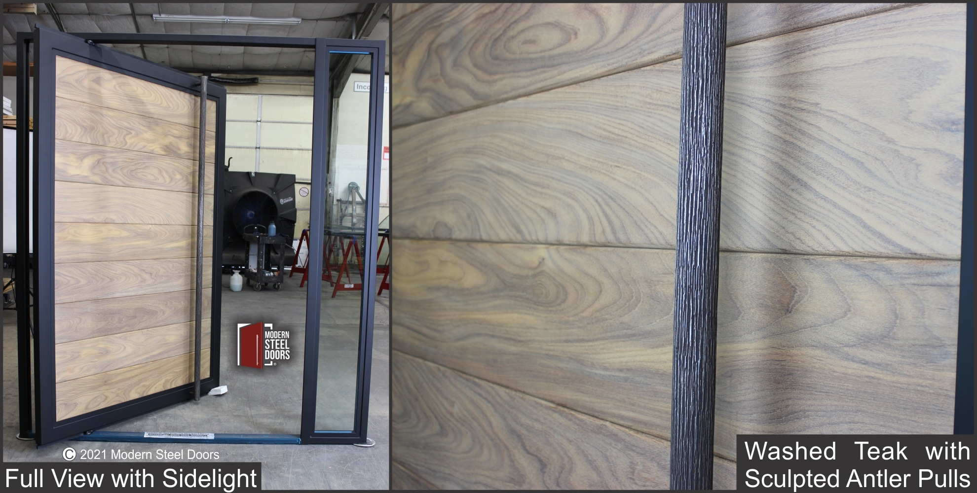 WASHED TEAK FULL VIEW PIVOT DOOR WITH ONE SIDELIGHT