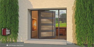 single modern front door made of genuine washed wood and steel with long custom door handles and sidelights