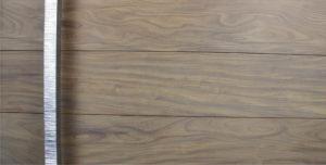 washed teak hardwood front door with polished square door handles