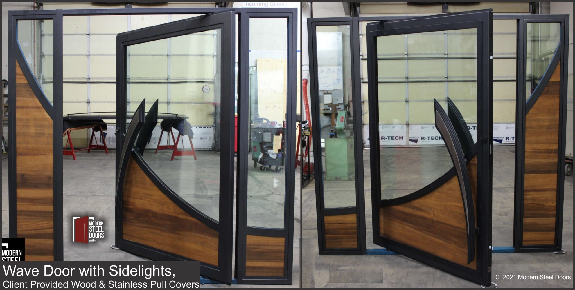 WAVE DOOR WITH SIDELIGHTS CLIENT PROVIDED WOOS AND STAINLESS PULL COVERS