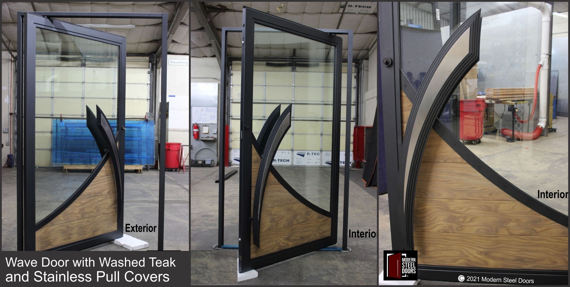 WAVE DOOR WITH WASHED TEAK WOOD AND STAINLESS PULL COVERS