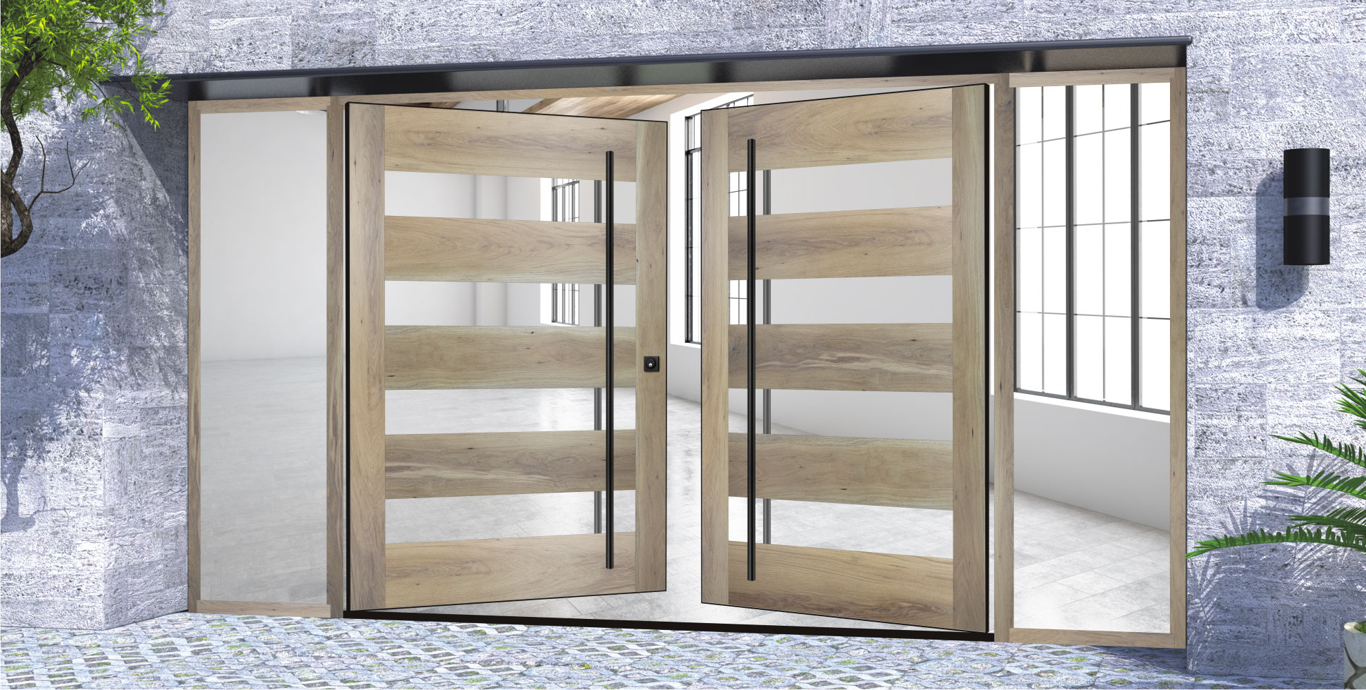 white oak hardwood double door made of glass and metal with round door hardware and sidelights