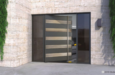 modern entry door made of genuine white oak wood and metal with long door handles and sidelights