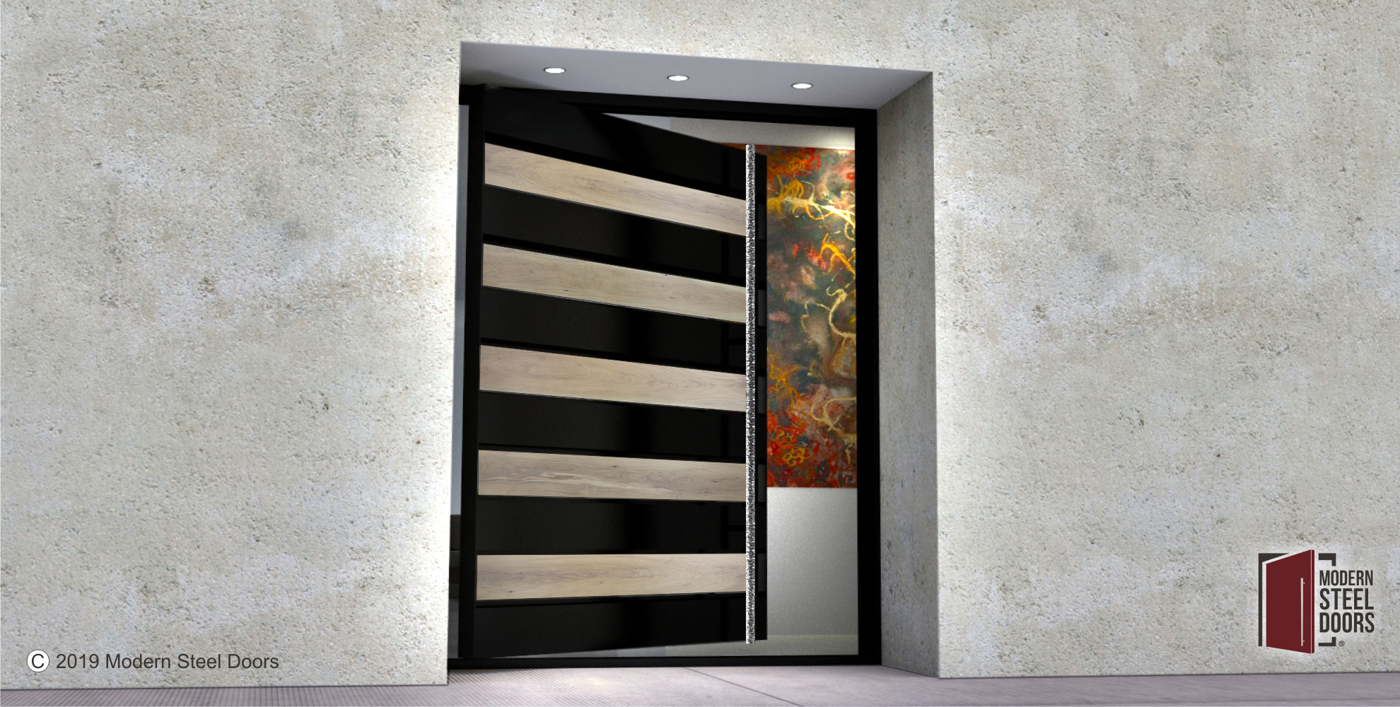 modern front door design of white oak hardwood and black steel with custom polished door pulls