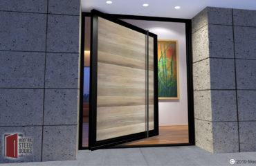 modern front door design made of genuine hardwood and metal with matching long door pulls