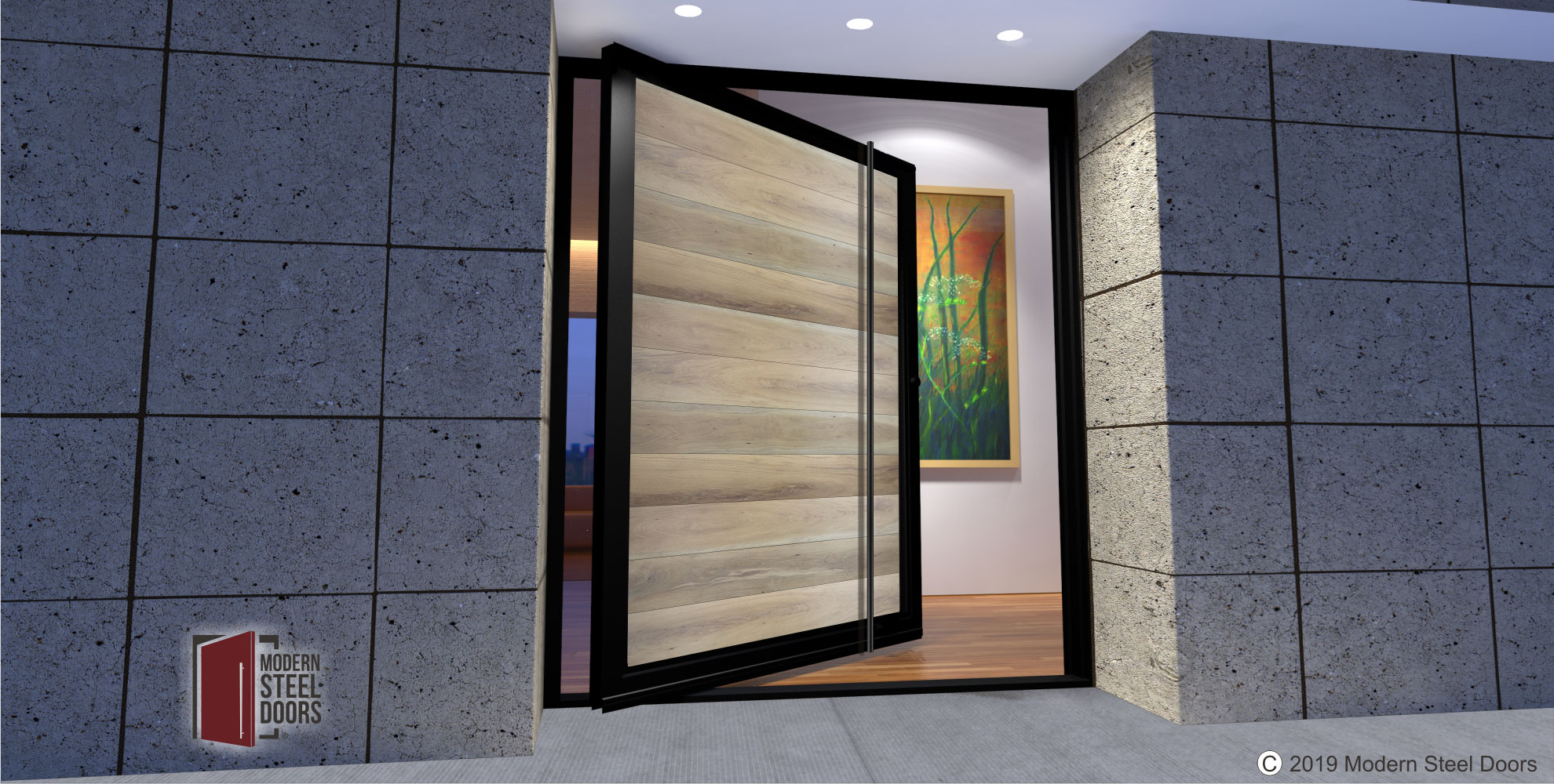 modern front door design made of genuine hardwood and metal with matching long door pulls