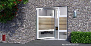 WHITE-OAK-HORIZON-SINGLE-DOOR-WITH-ROUND-FACETED-PULLS-&-SIDELIGHT
