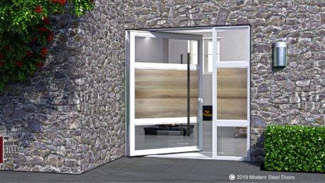 luxury front door made of white oak hardwood and steel with custom door handles and sidelight