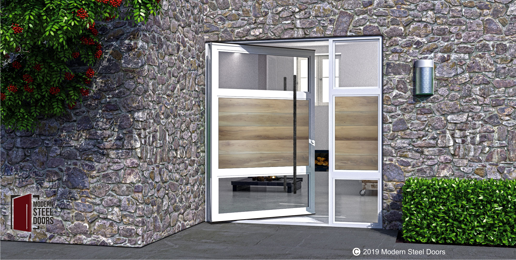 luxury front door made of white oak hardwood and steel with custom door handles and sidelight