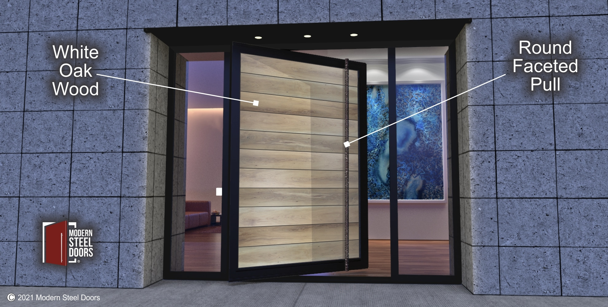 WHITE OAK PIVOT DOOR WITH CLEAR GLASS SIDELIGHTS