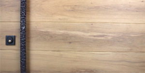 white oak wood with round modern door hardware and baldwin square black door lock