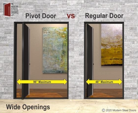 PIVOT DOORS HAVE WIDE OPENINGS