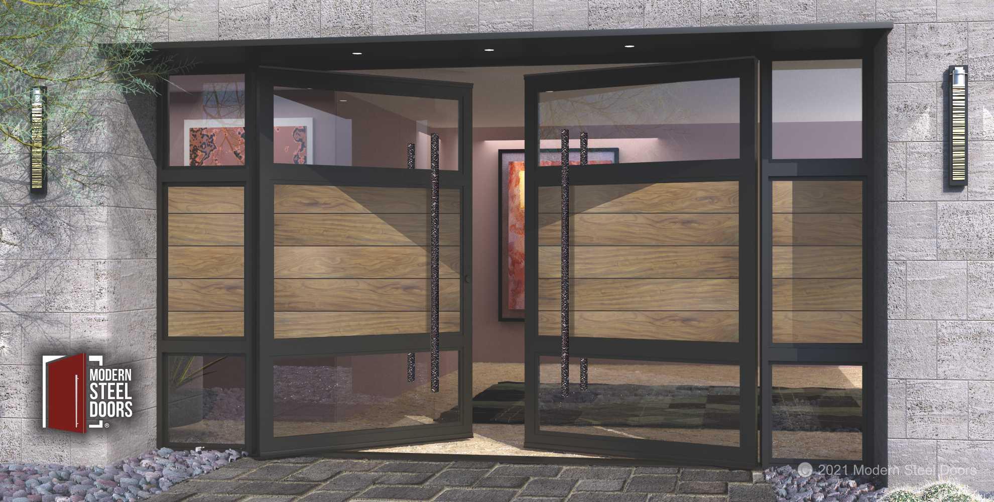 WOOD AND METAL FRONT DOOR.