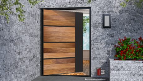 WOOD ENTRY DOOR WITH ACCENT METAL.