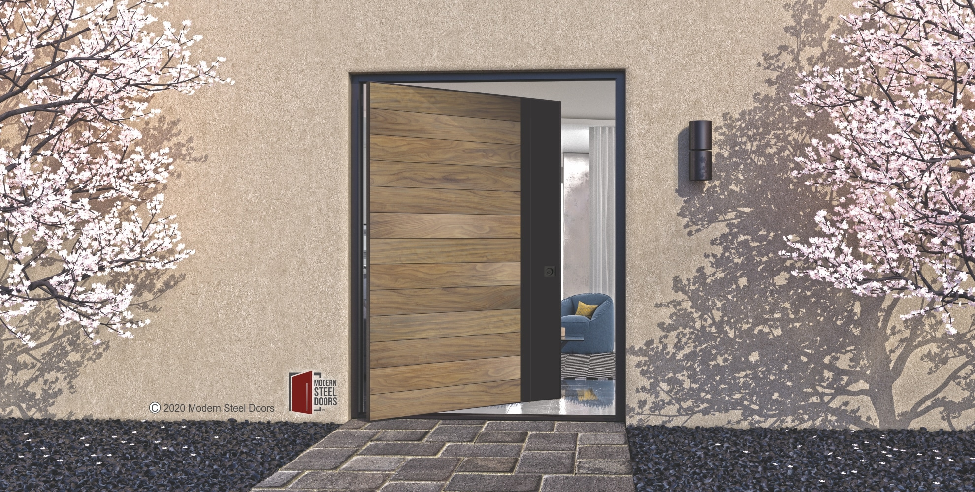 WOOD FRONT DOOR WITH ACTIVE METAL STILE