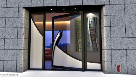 modern outside door made of glass and steel with unique curved door hardware and sidelights