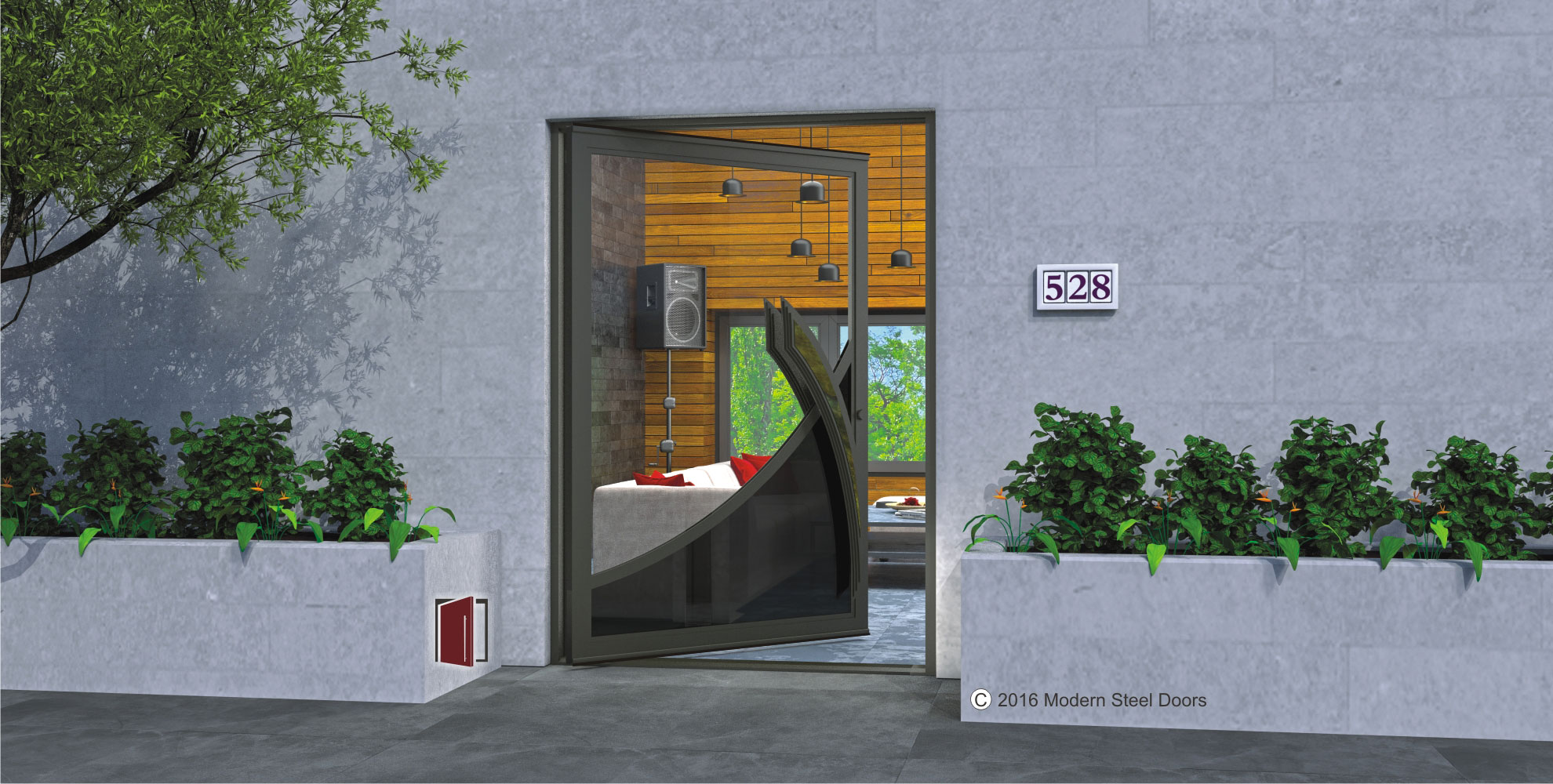 pivot front door custom design made of clear and tinted glass with accent rainbow bronze curved door hardware