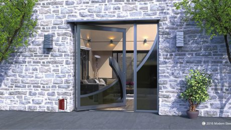 large single pivot door wave design made of clear and tinted glass with gray curved door handles and matching sidelight