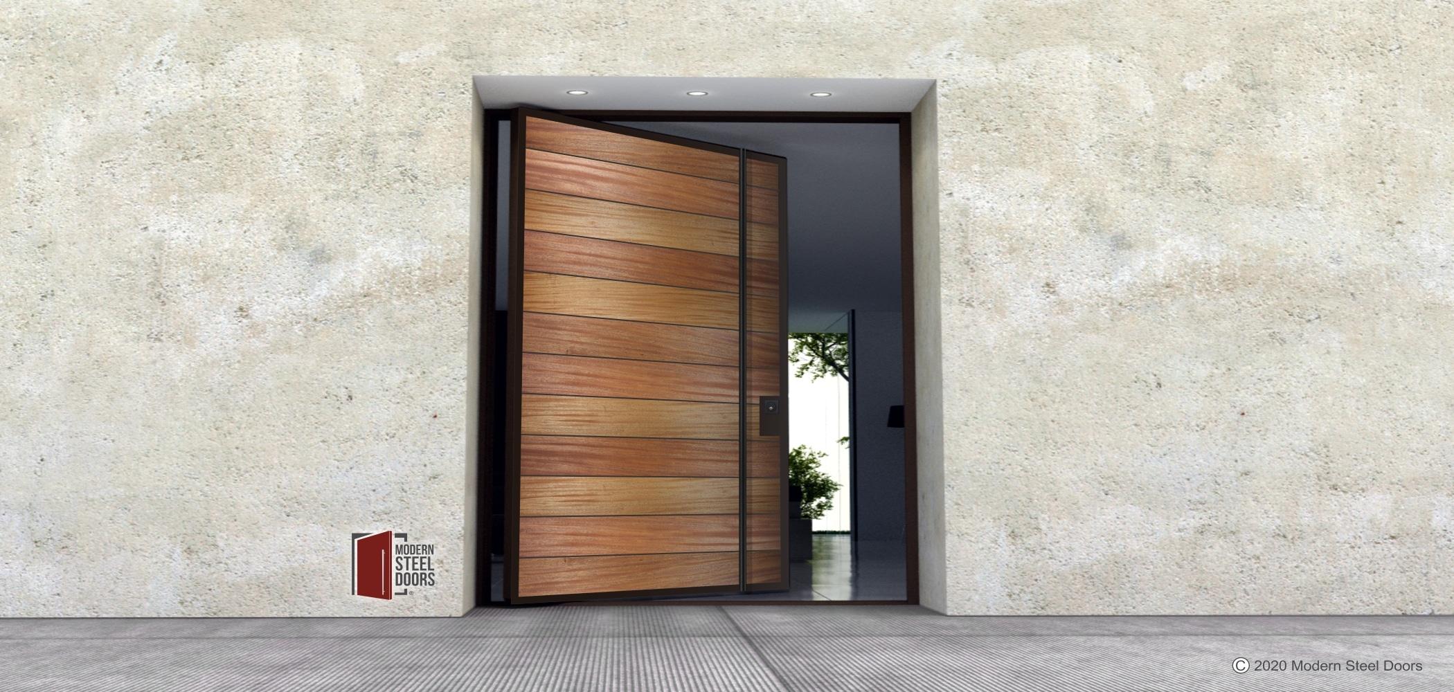 METAL FRAMED WOOD DOOR.