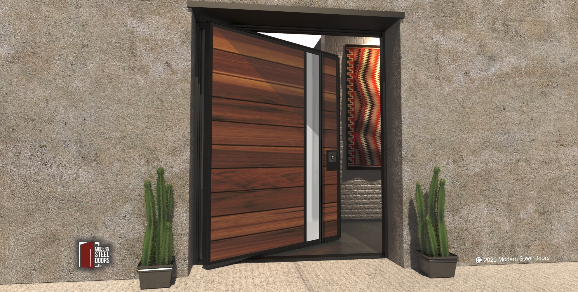 METAL FRAMED WOOD DOOR WITH LITE