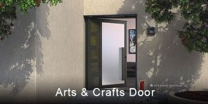 contemporary exterior door made of frosted glass and metal segments with handcrafted door pulls