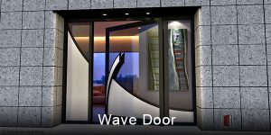 modern exterior door made of glass and metal with curved door handles and sidelights