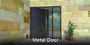 contemporary outside door made of metal with round stainless steel full length door handles and sidelight