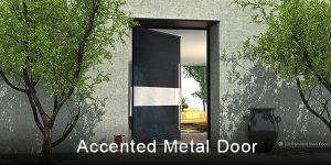 accented metal front door made with brushed stainless steel horizontal accent panel and matching round stainless door pulls