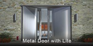 modern exterior double doors made of metal with lites and custom made hand sculpted door handles